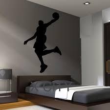 pochoir mural chambre noir sticker de basket dunk silhouette pour chambre autocollant