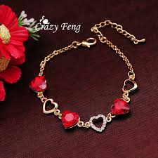 crystal chain link necklace images Free shipping fashion charm bracelet gold color chain link crystal jpg