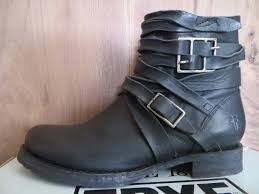 short moto boots frye veronica strappy new 378 short black leather moto buckle