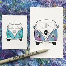 hippie van drawing hippie bus painting vw bus art volkswagen volkswagen bus