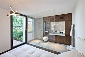 Minimalist Rooms White Wall Theme Connected By Glass Sliding Door And Brown Wooden