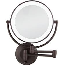 home depot lighted mirrors zadro 15 in l x 12 in w led lighted wall mirror in oil rubbed
