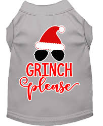 mirage pet products mardi grinch screen print dog shirt grey 18
