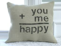 Burlap Decorative Pillows Burlap Happy Love Pillow By Carijoydesigns On Etsy 22 00