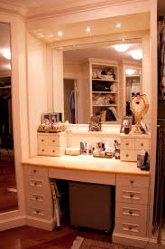 White And Mirrored Bedroom Furniture Furniture White Mirrored Makeup Vanity With 5 Drawers For Home