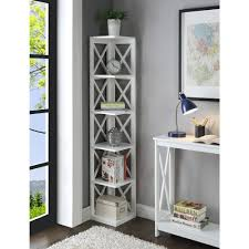 wooden corner bookcase convenience concepts oxford 5 tier corner bookcase walmart com