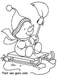 printable christmas snowman sledge coloring pages printable