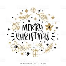 merry christmas winter holiday greeting card with calligraphy