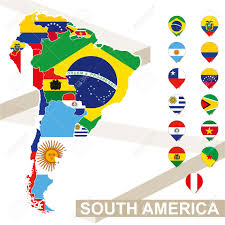 Maps Of South America South America Map With Flags South America Map Colored In With