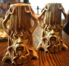 unique pair greenman in tree candle holders