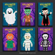 six halloween cards vector free download