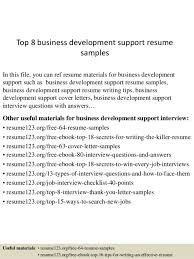 Business Development Resumes Business Development Support Cover Letter