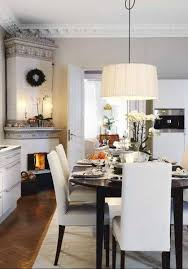 Black Dining Table White Chairs White Sheer Drum Crystal Chandelier With Black Dining Chairs