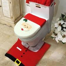 3 PCs Christmas Decorations Happy Santa Toilet Seat Cover and Rug
