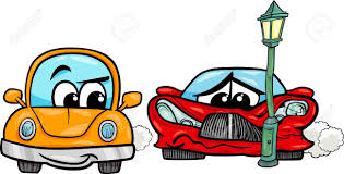 animated wrecked car cartoon illustration of crashed sports car and retro automobile