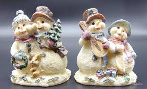 Homco Home Interiors by Caroling Snowman Figurines Homco Home Interiors Set Of Two 54007