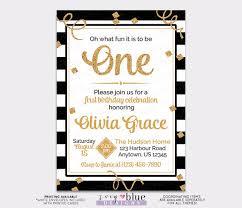 black white gold first birthday invitation gold glitter