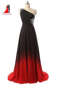 ombre dress 2017 new prom dress one shoulder black gradient chiffon