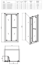 twyford geo6 bi fold shower enclosure door 900mm g65200cp