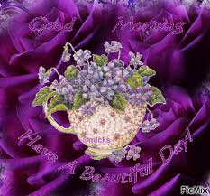 Fowers Purple Roses Background A Cup Of Purple Fowers Spilling Out And