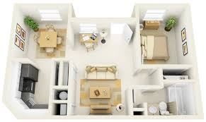 Floor Plan For Residential House 1 Bedroom Apartment House Plans