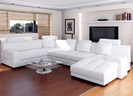 modern living room style with big white leather sectional sofa set