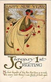 happy new year post card postcard quenalbertini vintage nouveau new year card happy