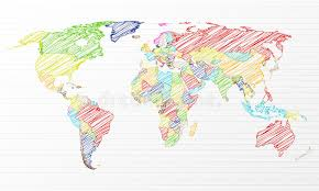 world map image drawing color drawing political world map stock vector image 25221447