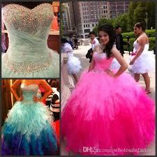 best quinceanera dresses sweetheart rainbow colored quinceanera dresses crystals beading