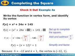 example 4a write the function in vertex form and identify its