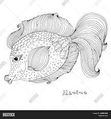 vector hand drawn fairy fantastic sea fish ornamental weave fish