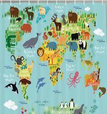 Shower Curtain World Map Kids Shower Curtain Ebay