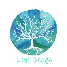 watercolor tree logo design tree of unique gifts shop