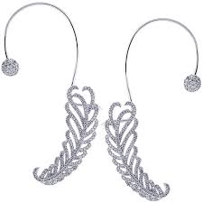 ear cuffs 18k white gold 2 00 ct diamond ear cuffs womens earrings