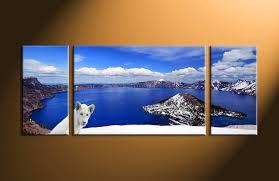 3 piece white lion landscape blue canvas art prints