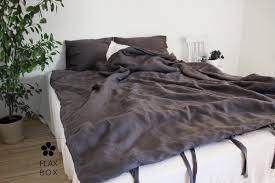 100 ecofriendly natural linen dark grey bedding set full