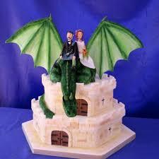 dragon castle green dragon on a castle wedding cake