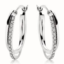gold hoop earrings uk 9ct white gold diamond hoop earrings 0000538 beaverbrooks the