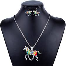 pendant necklace earrings images Colorful horse pendant necklace earrings jewelry set jpeg