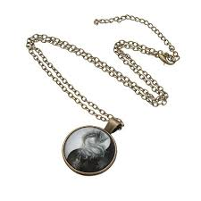 dragon glass necklace images Vintage yin yang tai chi dragon glass cabochon pendant necklace jpg