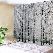 American Flag Tapestry Wall Hanging 2018 Snowy Forest Print Tapestry Wall Hanging Art Grey White W