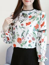 printed blouse stand collar frill sleeve floral printed blouse popjulia com