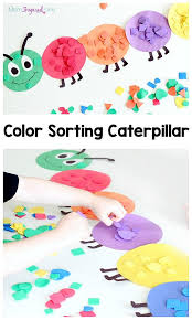 shape and color sorting caterpillar spring activities