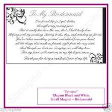 Matron Of Honor Poem Bridesmaid Poem Gift Fridge Magnet Wedding Black And White