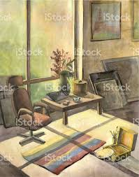 home interior paintings home interior watercolor painting stock vector 498741280 istock