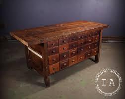 vintage industrial 48 drawer butcher block table kitchen island