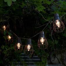 solar string lights set of 10 rustic metal cage solar string lights auraglow led