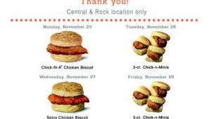 free breakfast week at fil a in east wichita central rock