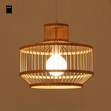 Lantern Pendant Light Fixtures Black Bamboo Wicker Rattan Shade Cage Lantern Pendant