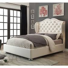 Beige Upholstered Bed Clarice Upholstered Bed Cream Coaster Furniture Furniture Cart